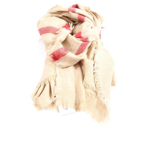 Zara Strickschal creme-rot Streifenmuster Casual-Look