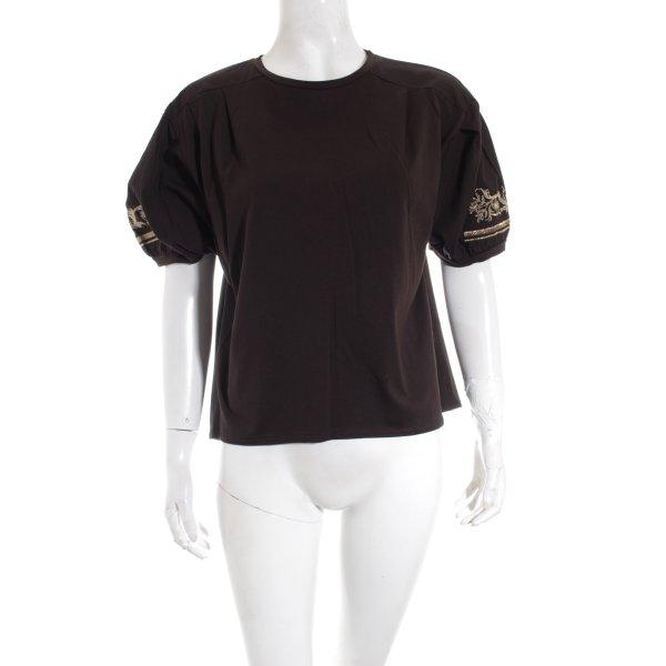 Zara T-Shirt schwarz-goldfarben Elegant