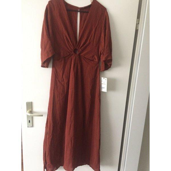 Zara Terracotta Kleid mit Schnalle Gr. L  neu