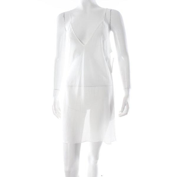 Zara Trägerkleid weiß Transparenz-Optik