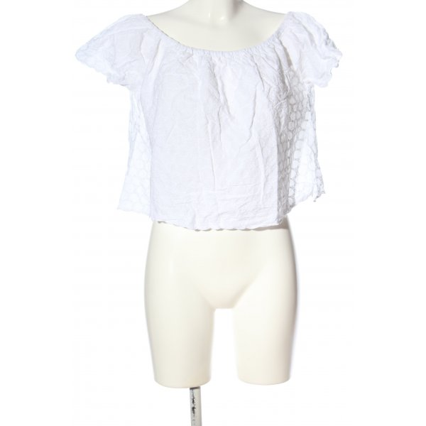 Zara Trafaluc Carmen-Bluse weiß grafisches Muster Casual-Look