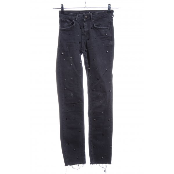 Zara Trafaluc High Waist Jeans schwarz Glanz-Optik