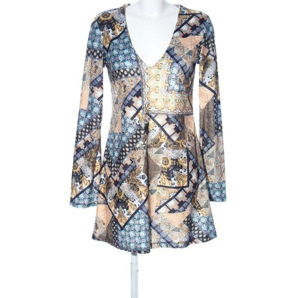 Zara Trafaluc Stretchkleid blau-creme abstraktes Muster Casual-Look