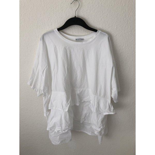 Zara Tunika Shirt mit Volants Weiß
