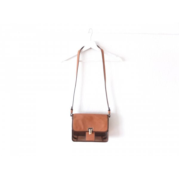 Zara Umhängetasche Tasche crossbody bag Braun Leder transparent