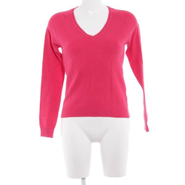 Zara V-Ausschnitt-Pullover magenta Casual-Look