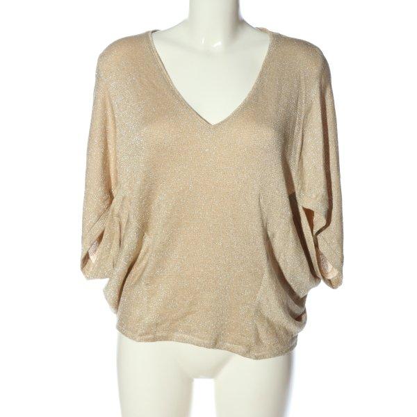 Zara V-Ausschnitt-Shirt nude Elegant