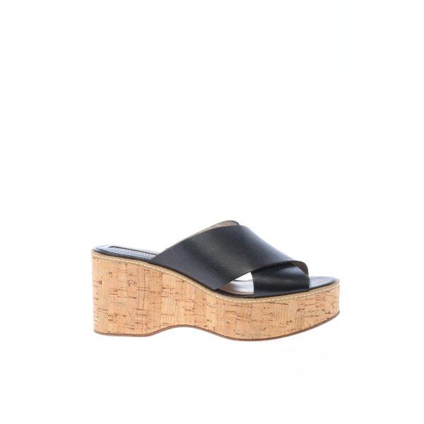 Zara Wedges Sandaletten creme-schwarz Casual-Look
