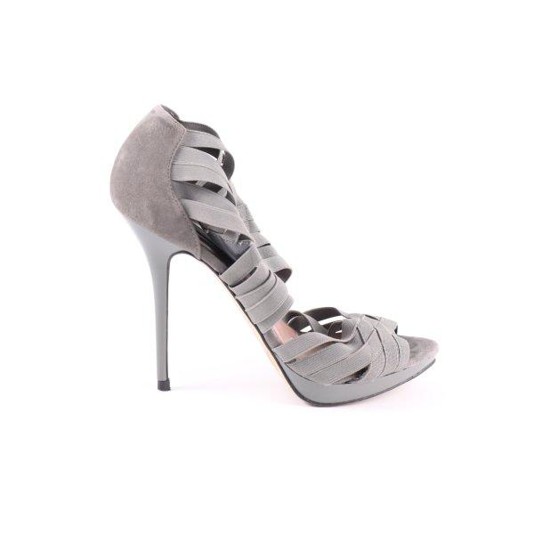 Zara Woman High Heel Sandaletten hellgrau Party-Look