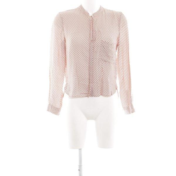 Zara Woman Langarm-Bluse pink-schwarz Allover-Druck Elegant