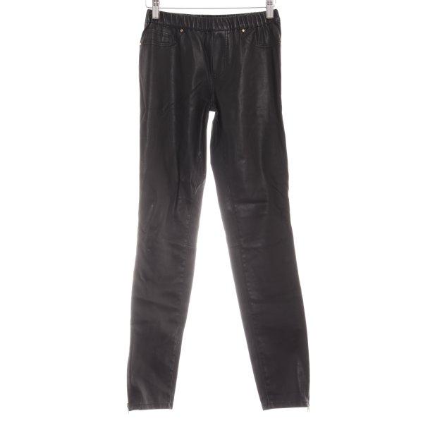 Zara Woman Lederhose schwarz Lack-Optik