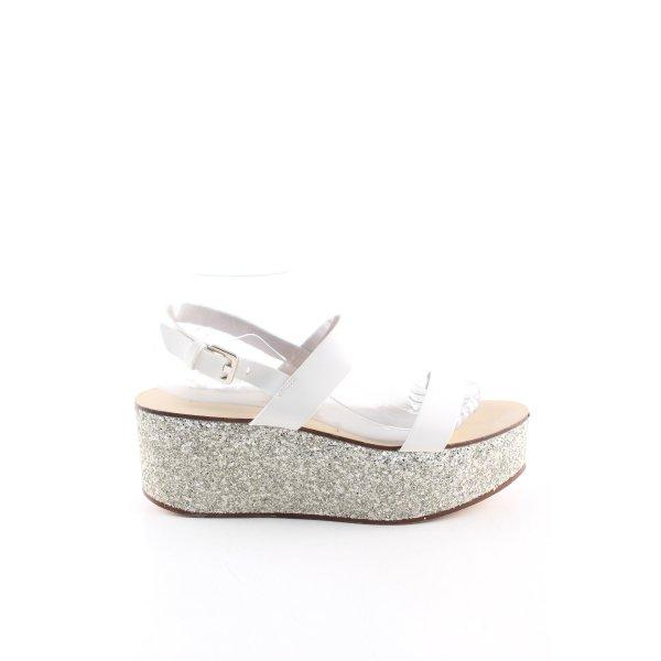 Zara Woman Plateau-Sandaletten weiß-silberfarben Business-Look