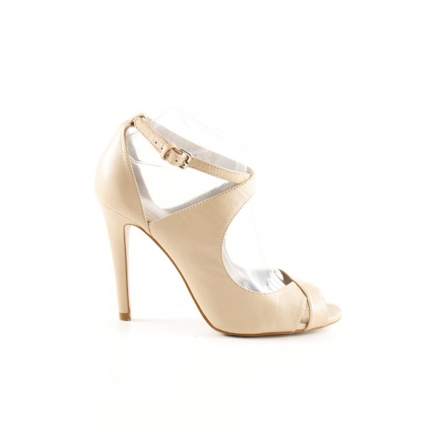 Zara Woman Riemchen-Sandaletten creme Business-Look