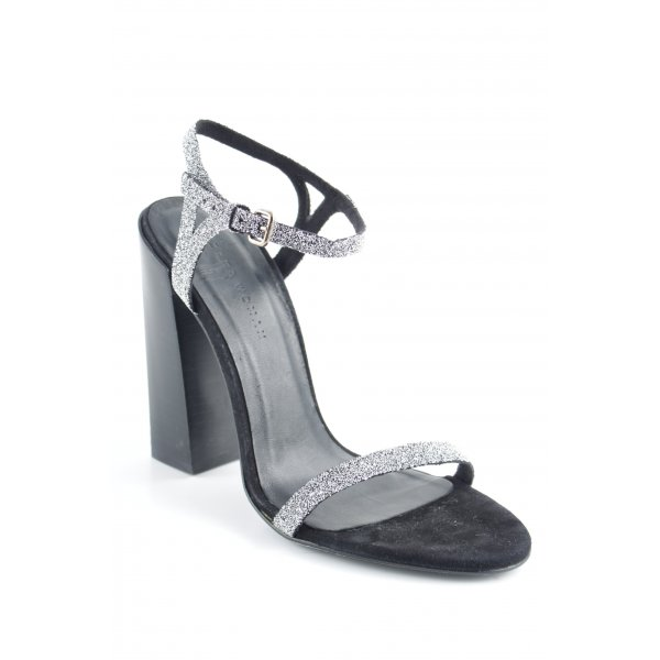 Zara Woman Riemchenpumps schwarz-silberfarben Elegant