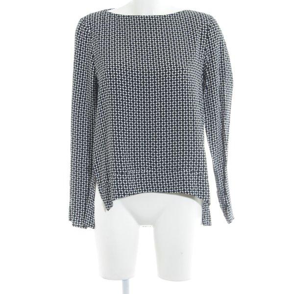 Zara Woman Schlupf-Bluse schwarz-weiß grafisches Muster Casual-Look