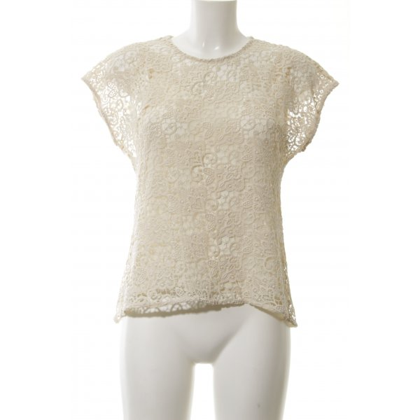Zara Woman Spitzenbluse wollweiß Casual-Look