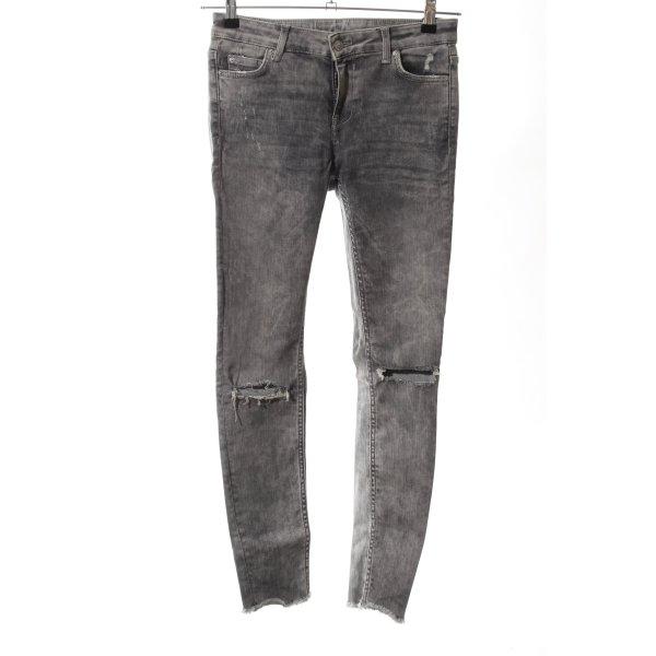 Zara Woman Stretch Jeans hellgrau-weiß Farbverlauf Casual-Look