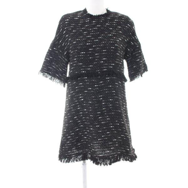 Zara Woman Strickkleid schwarz-weiß Zopfmuster Business-Look