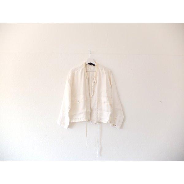 Zara Woman Studio Jacke Gr. M 38 40 weiß Bomberjacke Satin