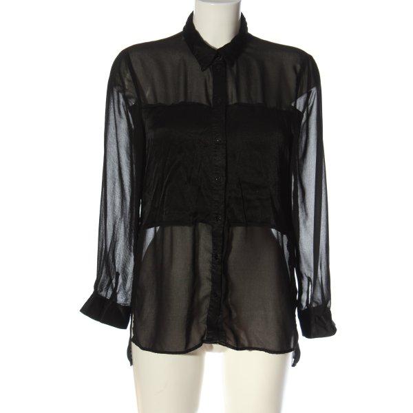 Zara Woman Transparenz-Bluse schwarz Casual-Look