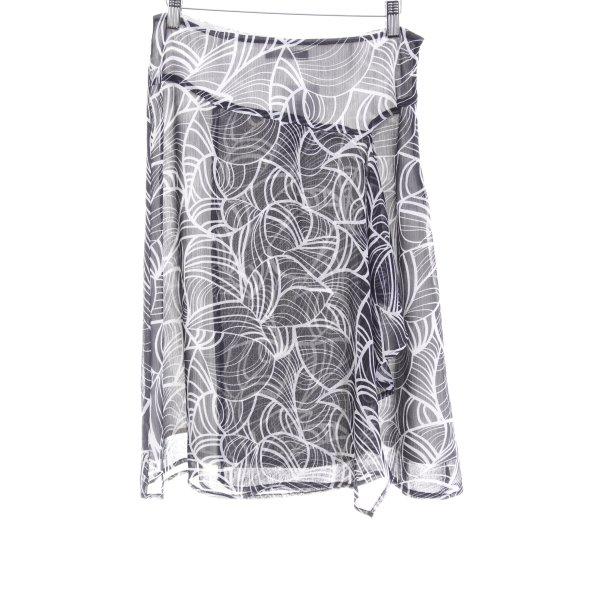 Zero Volantrock schwarz-weiß abstraktes Muster Casual-Look